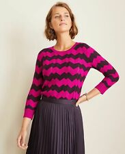 NWT $79 Ann Taylor Womens Chevron Striped Sweater in Fresh Magenta Size S Pink
