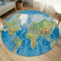 World Map Round Carpets Room Printed Area Rug Blue Floor Mat Bedroom Play Mat