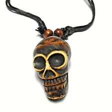 Skull Choker Necklace Adjustable Cord Carved Yak Bone Gothic Emo
