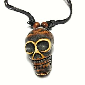 Black Cord Choker Sliding Knot Adjustable Necklace Pendant Skull Retro Gothic