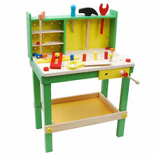 Wooden Children Kids Toy Work Table Father's Workbench Pretend Play