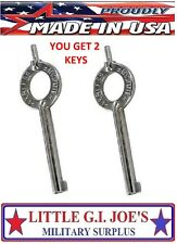 Handcuff Key Peerless Standard Handcuff Key For the military NEW! YOU GET (2)