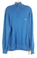 LACOSTE mens size XL blue collared long sleeved 1/4 zip popover cotton sweater