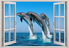 Wild Dolphins Sea Ocean Fish 3D Window View Effect Wall Sticker Poster Vinyl