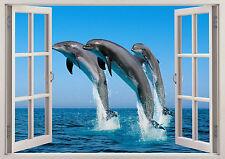 Wild Delfines Mar peces oceánicos 3D Efecto Ventana de Vista Pegatinas De Pared Póster Vinilo 96