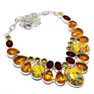 "Mosaic Balloon Jasper Gemstone 925 Sterling Silver Handmade Necklace 17.99"" F511"