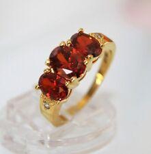 Exkl. Wunderschöner  DamenRing Gold 18K GP (750) Rubin Granat rot Gr 57  Ø18,1mm