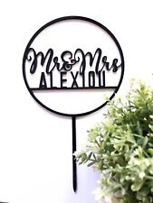 Personalised Mr & Mrs in Circle Wedding Cake Toppers - Wood / Acrylic