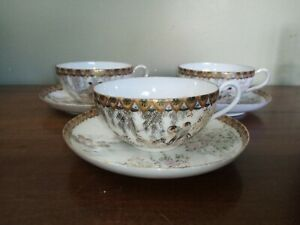 Three, Antique Handpainted Oriental Cups and Saucers, Signed Pieces