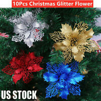Christmas Poinsettia Glitter Flower Tree Hanging Xmas Tree Party Decoration Y3J0