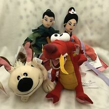 Retired Disney Store Mulan Bean Bag Plush Set of 4 Sound Mulan Mushu Little Bro.