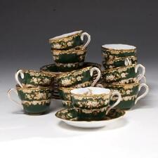 VINTAGE SET OF 12 SPODE COPELAND TEACUPS & SAUCERS PHEASANT W/ DK. GREEN GROUND