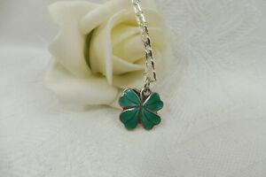 Vintage Green Enamel Lucky 4 Leaf Clover Sterling Silver Pendant Necklace