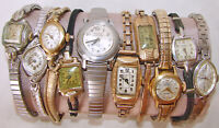 Antique/Vintage Lot Ladies Watches For Repair Parts All Manual Wind Mido Bulova