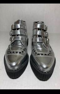 TUK 3-Buckle Boots Silver Metallic Creepers