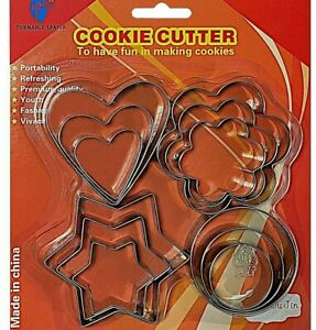 cookie cutter set stainless steel cake baking cookies 12 pcs pastry biscuit