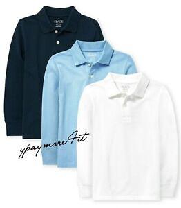 Boys Children's Place School Uniform Polo Long Sleeve Shirts Sz 14 XL White Blue