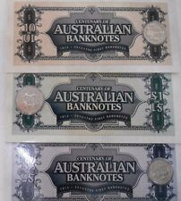 1913 - 2013 BANKNOTES CENTENARY SET OF 3 COINS WITH OUTER SLEEVE