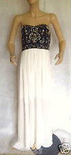 NEW LADIES TFNC GATSBY BEAD & JEWEL EMBELLISHED CREAM/NAVY BANDEAU DRESS SIZE 16