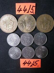 6 x half  & 3 x ten franc coins 70's era   FRANCE  30  gms      Mar4415