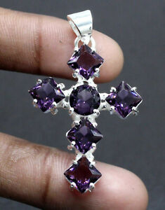 """925 Sterling Silver Purple Amethyst Gemstone Jewelry Cross Pendant Size-2"""""""