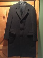 Mens Vintage Wool Long Overcoat Coat Dark Gray - Made In Yugoslavia