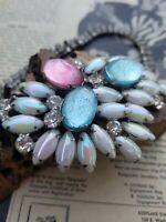 Pastel aurora borealis foil cab rhinestone bib necklace designer high end vintag
