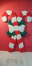 Vtg Popcorn Plastic Crossed Candy Canes Christmas Wall/Door Decor