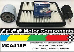 SPARK PLUG & FILTER SERVICE KIT for DAEWOO LEGANZA C20SED 2L T22SED 2.2L 7/97>03