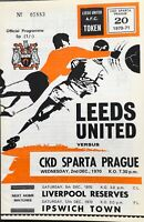 LEEDS UNITED V CKD SPARTA PRAGUE FOOTBALL PROGRAMME 1970/71