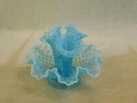 Antique FENTON *Blue Opalescent Hobnail Glass EPERGNE Bowl w 3 HORNS Vase