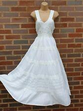 Cotton White Dress Summer Sleeveless Boho Maxi Lace V Neck Lined Size 10 12 14