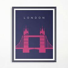London Tower Bridge Travel Poster Minimalistic Original