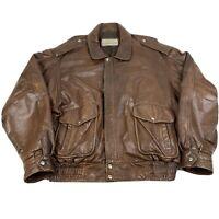 1980s vintage A2 G1 Bomber Leather Jacket XL Brown STUART MCGUIRE Top Gun
