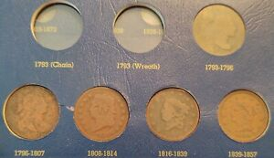 Set of 5 Large Cents, Type Set 1795-1855 - 1795 1803 1814 1820 1855 Flowing Hair