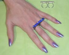 anello doppio dito  STRASS ZAFFIRO ARTIGIANALE BAGNO BRUNITO made in italy