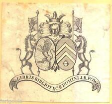 EX-LIBRIS de Jacques Benoît POWIS DE TENBOSSCHE. Brabant.