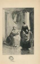 ANTIQUE VICTORIAN MIRROR WOMAN SHAWL ROMANCE FLOWER REMARQUE ETCHING PRINT