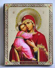 Ikone Gottesmutter von Vladimir Holzplatte икона богородица Владимирская 12x10