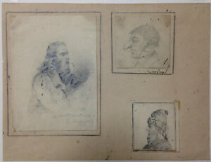 DRAWINGS (3) Original ~ FRENCH 19TH CENTURY ~ Ernest LAMI DE NOZAN (1801-1877)