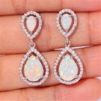 Women 925 Silver White Topaz Opal Dangle Earrings Fashion Wedding Birthday Gift