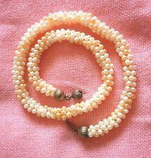 Collana perle naturali bianche e rosa modello tubogas -  chiusura argento