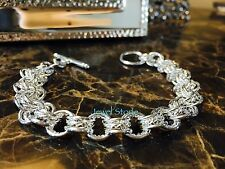 "925 Sterling Silver Bracelet 8"" Toggle Clasp Chain Link Cuff Bangle"