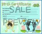 Reborn Baby Boy Birth Certificate Printed on Quality Paper
