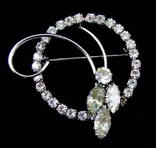 Circle Pin Brooch Rhinestones Vintage Unsigned Wreath Design Round Marquise