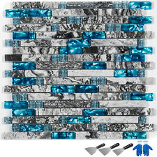 Interlocking Backsplash Glass Tile for Kitchen Bath Teal Blue Glass Gray Marble