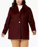 BNWT CALVIN KLEIN Wool Pea Coat Burgundy Size US 1X - UK 18-20 RRP $340