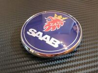 SAAB 68mm BONNET BADGE BLUE Emblem 3 PIN Front 93 95 9-3 9-5 2003-2010 12844161