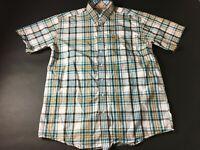 Cinch Mens Blue Orange Plaid Front Pocket Button Front Shirt Size Large