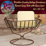 Primitive Farmhouse Vintage  Country Raised Soap Dish With Glass Liner